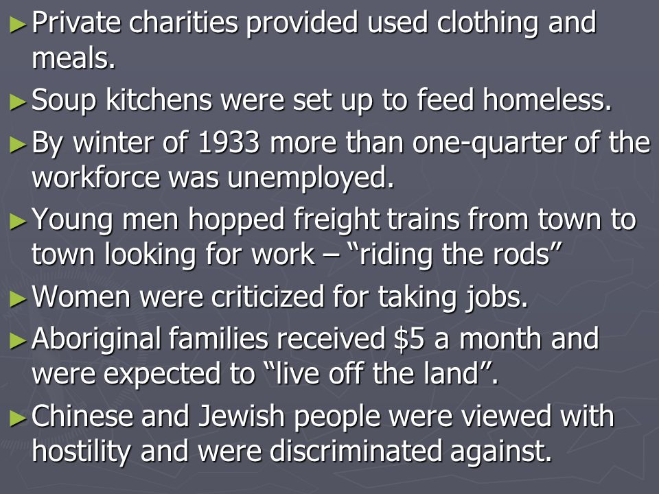 Private charities provided used clothing and meals. Private charities provided used clothing and meals. Soup kitchens were set up to feed homeless. So