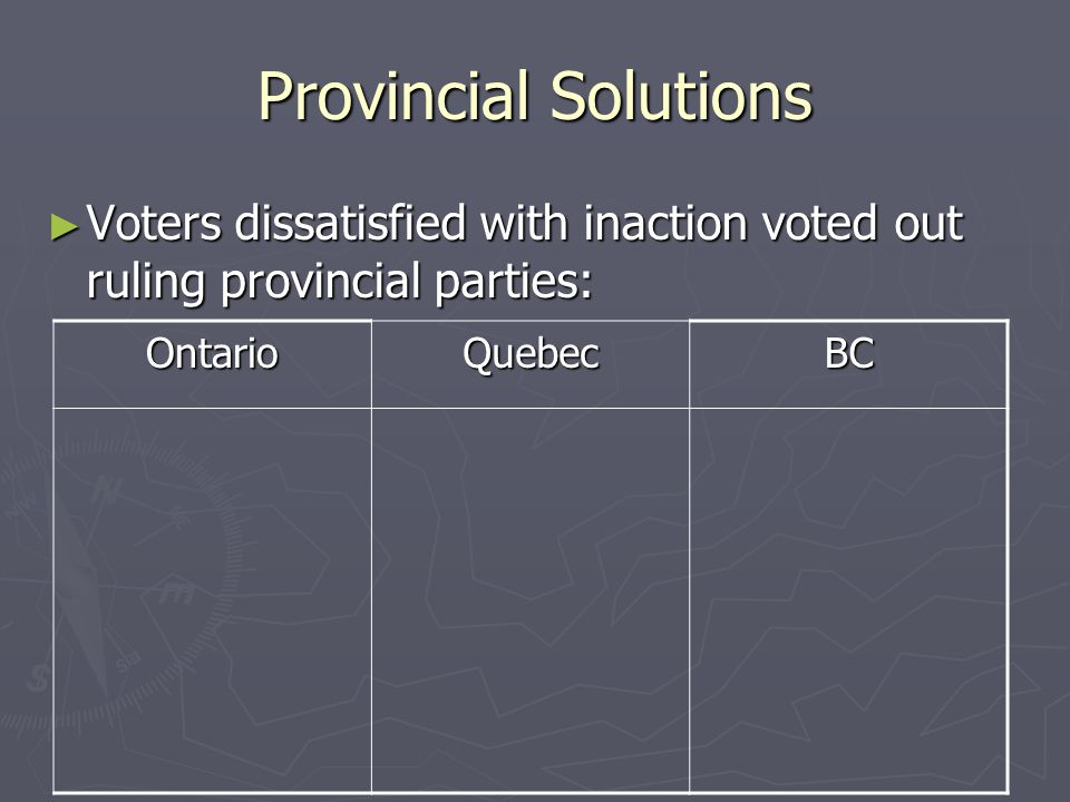 Provincial Solutions Voters dissatisfied with inaction voted out ruling provincial parties: Voters dissatisfied with inaction voted out ruling provinc
