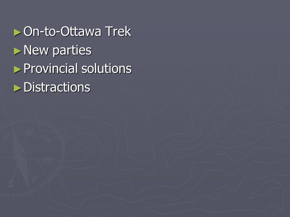 On-to-Ottawa Trek On-to-Ottawa Trek New parties New parties Provincial solutions Provincial solutions Distractions Distractions