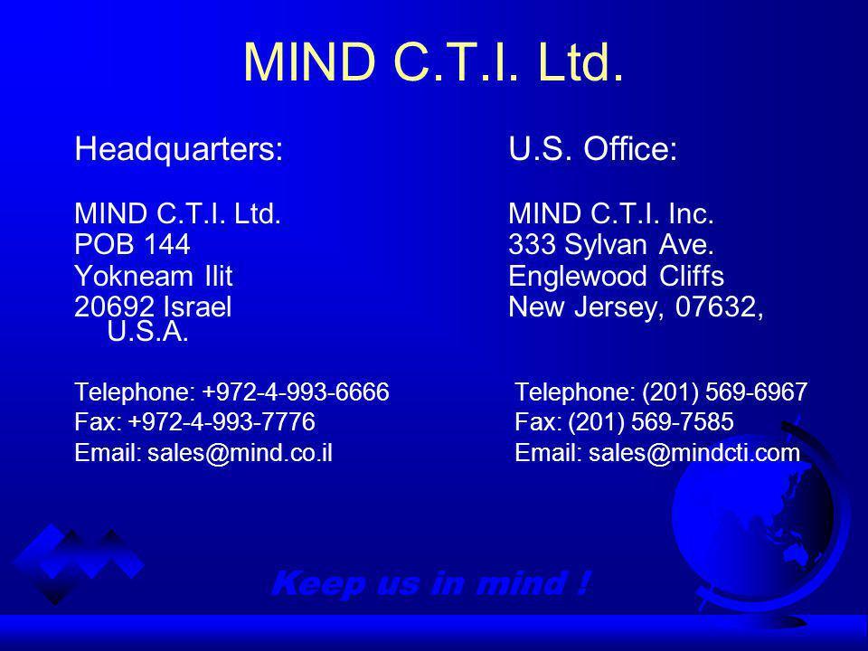 Keep us in mind . MIND C.T.I. Ltd. Headquarters:U.S.