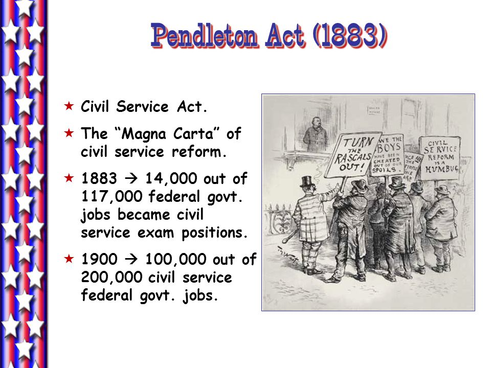 Pendleton Act (1883) Civil Service Act. The Magna Carta of civil service reform. 1883 14,000 out of 117,000 federal govt. jobs became civil service ex