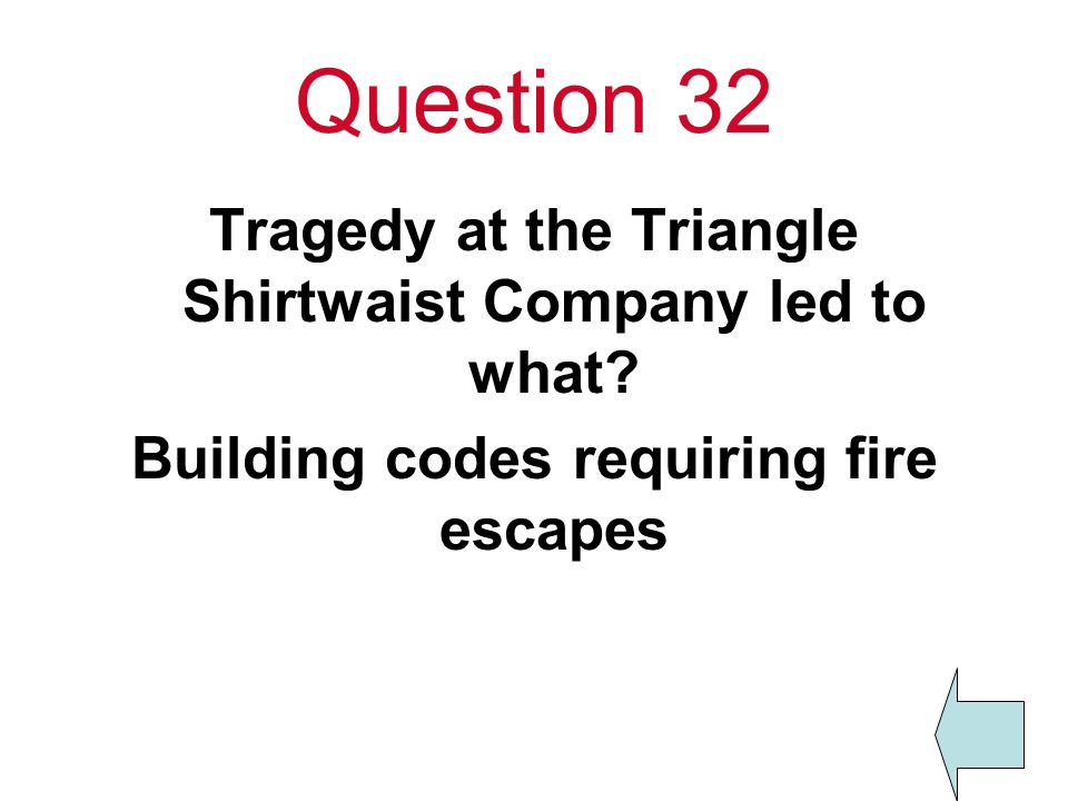 Question 32 Tragedy at the Triangle Shirtwaist Company led to what.