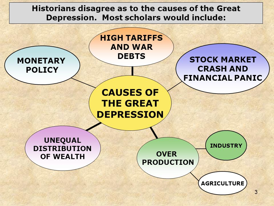 3 INDUSTRY MONETARY POLICY STOCK MARKET CRASH AND FINANCIAL PANIC Historians disagree as to the causes of the Great Depression. Most scholars would in