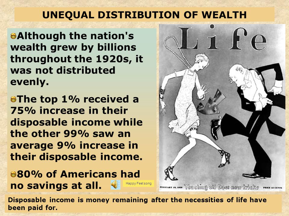4 Although the nation's wealth grew by billions throughout the 1920s, it was not distributed evenly. The top 1% received a 75% increase in their dispo