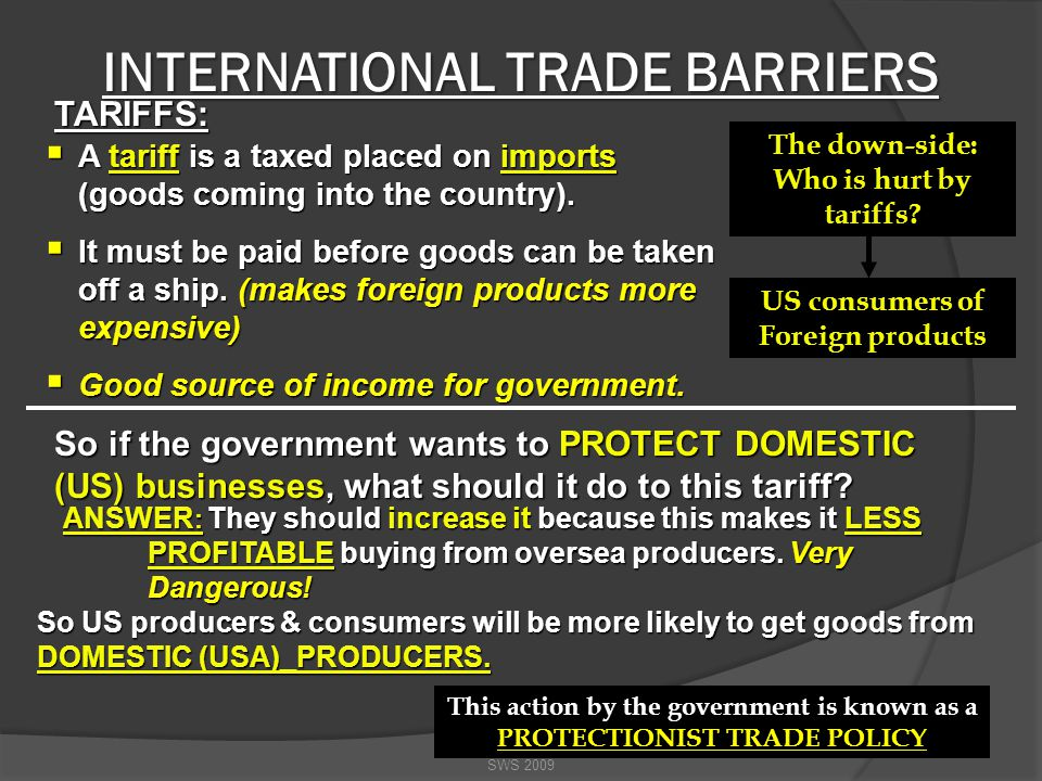 BARRIERS TO INTERNATIONAL TRADE SWS 2009