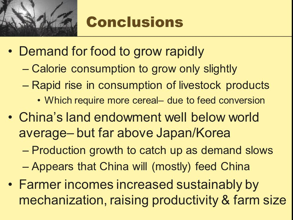 Conclusions Demand for food to grow rapidly –Calorie consumption to grow only slightly –Rapid rise in consumption of livestock products Which require more cereal– due to feed conversion Chinas land endowment well below world average– but far above Japan/Korea –Production growth to catch up as demand slows –Appears that China will (mostly) feed China Farmer incomes increased sustainably by mechanization, raising productivity & farm size