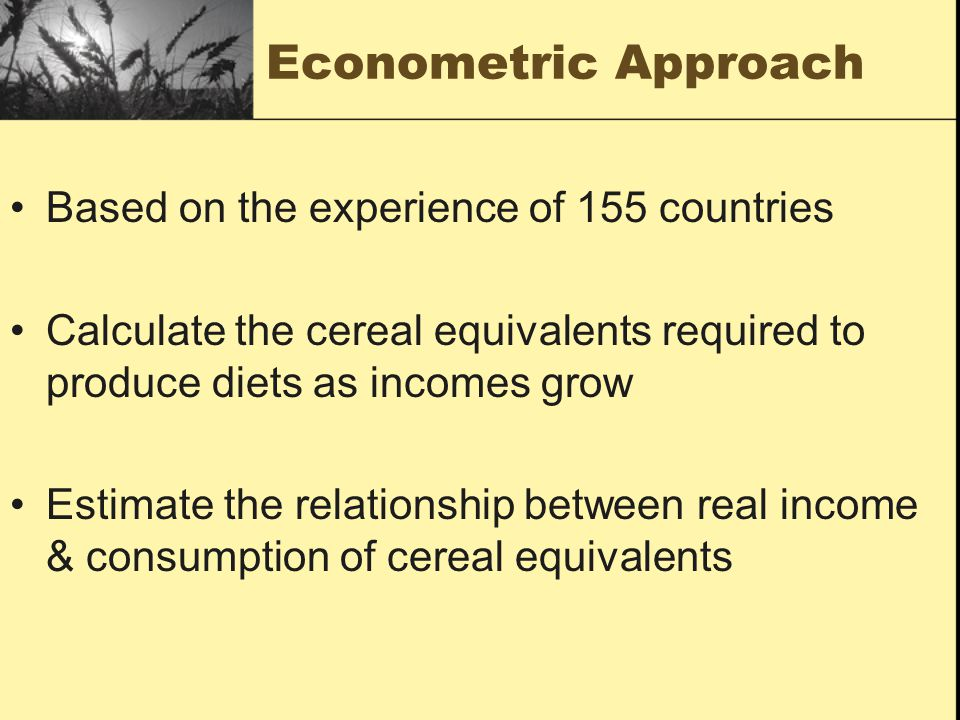 Econometric Approach Based on the experience of 155 countries Calculate the cereal equivalents required to produce diets as incomes grow Estimate the relationship between real income & consumption of cereal equivalents