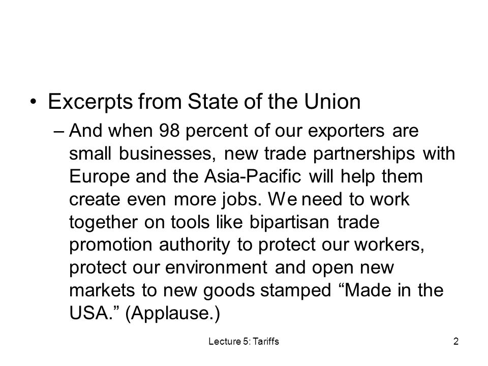 Excerpts from State of the Union –Listen, China and Europe arent standing on the sidelines; and neither, neither should we.