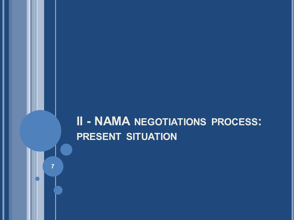 II - NAMA NEGOTIATIONS PROCESS : PRESENT SITUATION 7