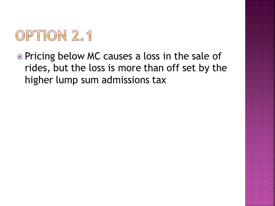 Pricing below MC causes a loss in the sale of rides, but the loss is more than off set by the higher lump sum admissions tax
