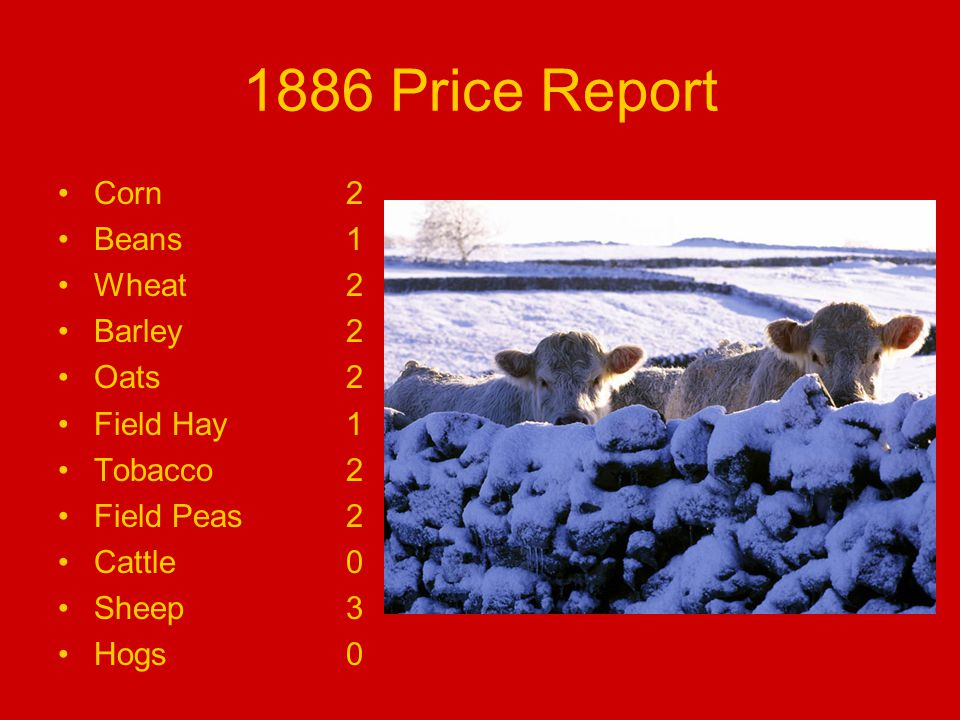 1886 Price Report Corn2 Beans1 Wheat2 Barley2 Oats2 Field Hay1 Tobacco2 Field Peas2 Cattle0 Sheep3 Hogs0