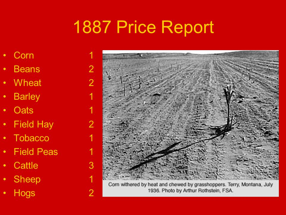 1887 Price Report Corn1 Beans2 Wheat2 Barley1 Oats1 Field Hay2 Tobacco1 Field Peas1 Cattle3 Sheep1 Hogs2