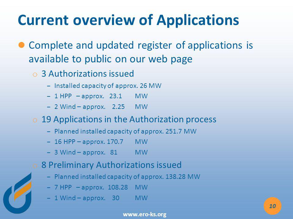 www.ero-ks.org Current overview of Applications Complete and updated register of applications is available to public on our web page o o 3 Authorizations issued Installed capacity of approx.