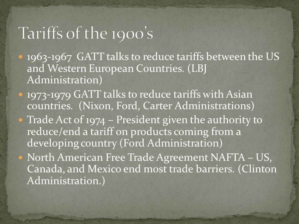 1963-1967 GATT talks to reduce tariffs between the US and Western European Countries.