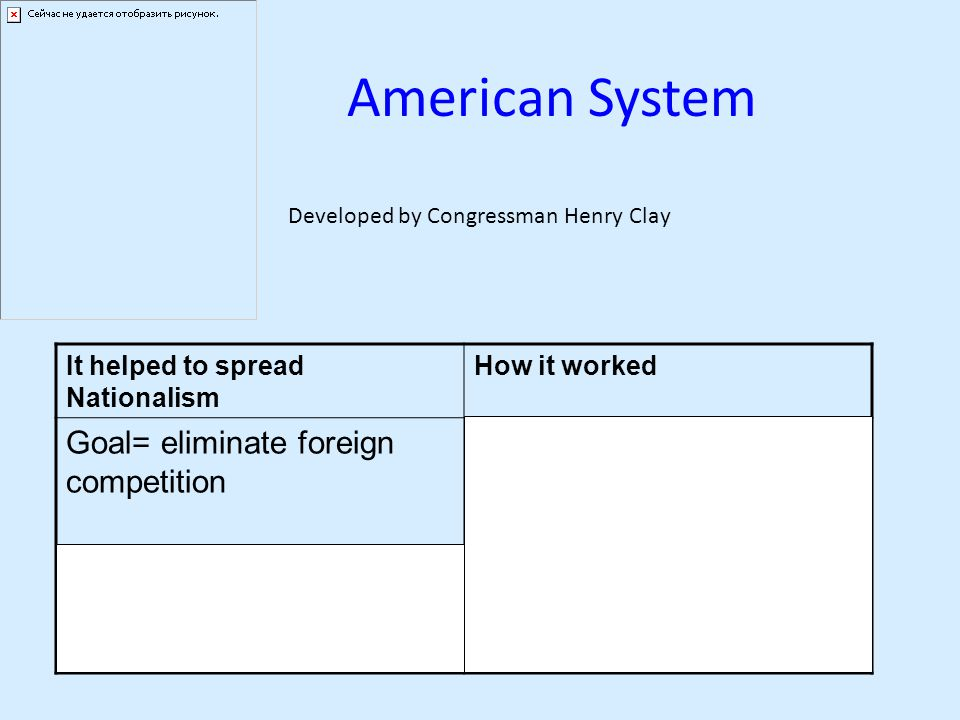 American System It helped to spread Nationalism How it worked Goal= eliminate foreign competition How- Wanted the North, West, and South to trade with Plan to protect business by: 1.Reinstating a national bank 2.Protective tariffs- taxes on foreign goods 3.Build roads and canals and improve transportation Developed by Congressman Henry Clay
