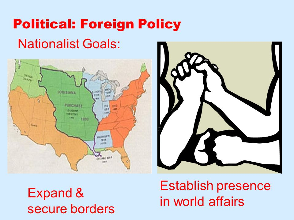 Political: Foreign Policy Nationalist Goals: Expand & secure borders Establish presence in world affairs