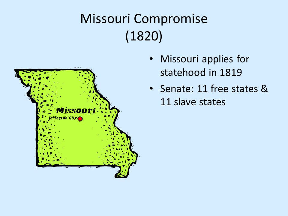Missouri Compromise (1820) Missouri applies for statehood in 1819 Senate: 11 free states & 11 slave states