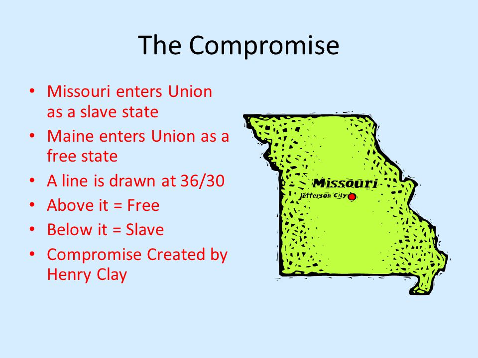 The Compromise Missouri enters Union as a slave state Maine enters Union as a free state A line is drawn at 36/30 Above it = Free Below it = Slave Compromise Created by Henry Clay
