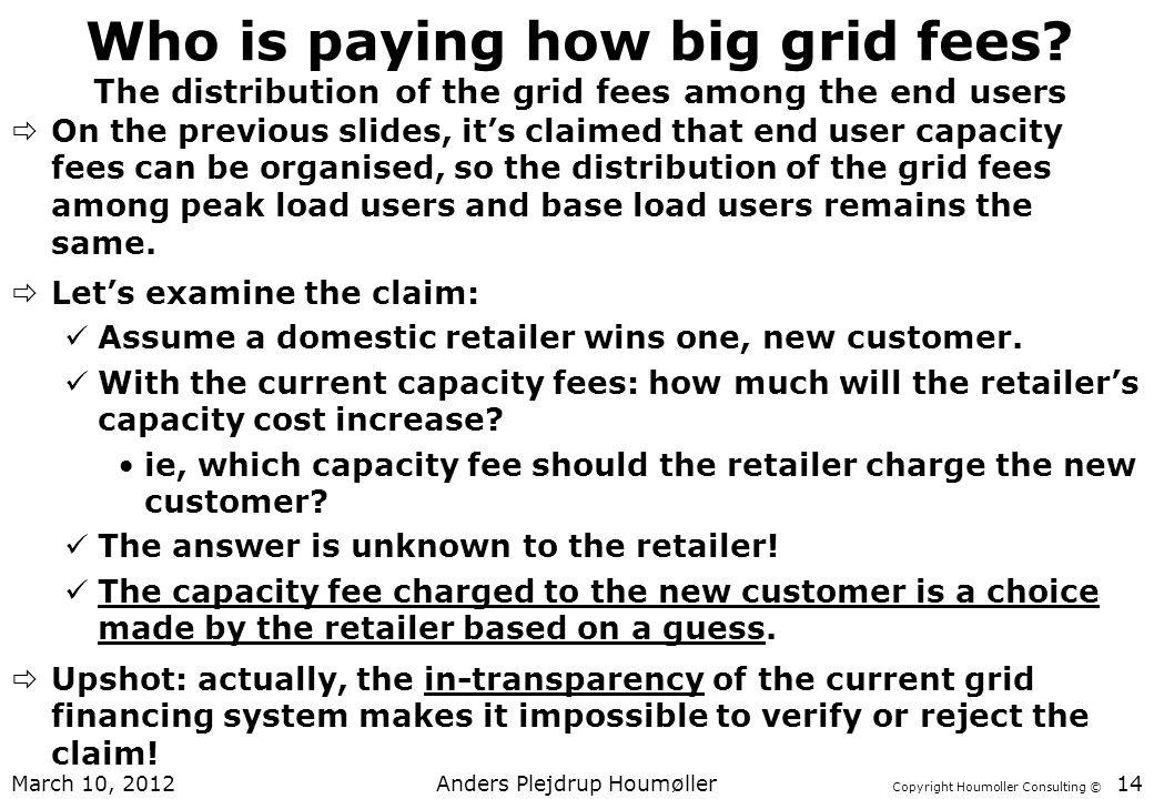 Copyright Houmoller Consulting © Who is paying how big grid fees.