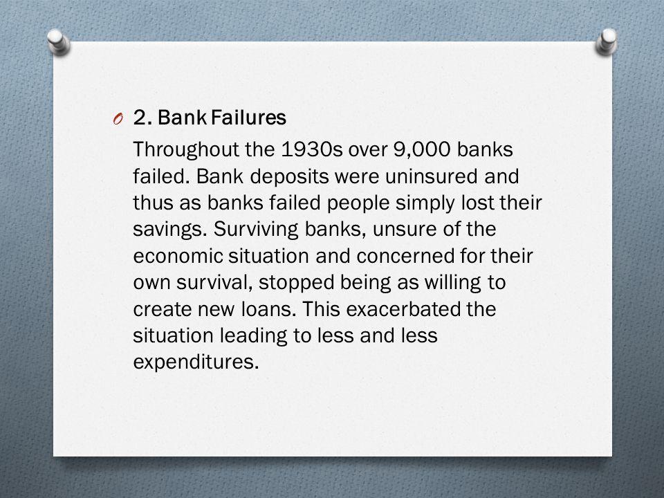 O 2.Bank Failures Throughout the 1930s over 9,000 banks failed.
