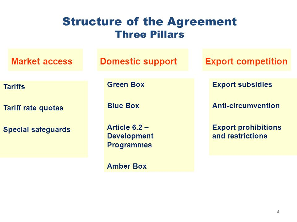 Structure of the Agreement Three Pillars Green Box Blue Box Article 6.2 – Development Programmes Amber Box 4 Export subsidies Anti-circumvention Export prohibitions and restrictions Tariffs Tariff rate quotas Special safeguards Market accessDomestic supportExport competition
