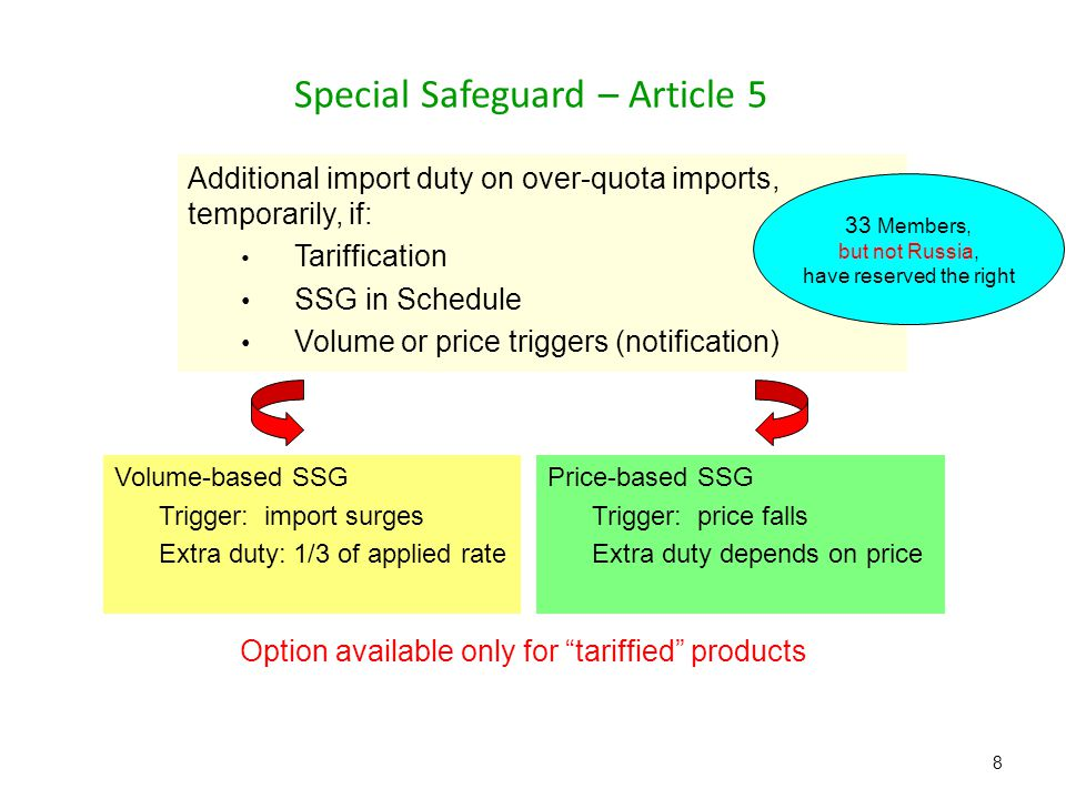 Special Safeguard – Article 5 8 Volume-based SSG Trigger: import surges Extra duty: 1/3 of applied rate Price-based SSG Trigger: price falls Extra duty depends on price Additional import duty on over-quota imports, temporarily, if: Tariffication SSG in Schedule Volume or price triggers (notification) 33 Members, but not Russia, have reserved the right Option available only for tariffied products