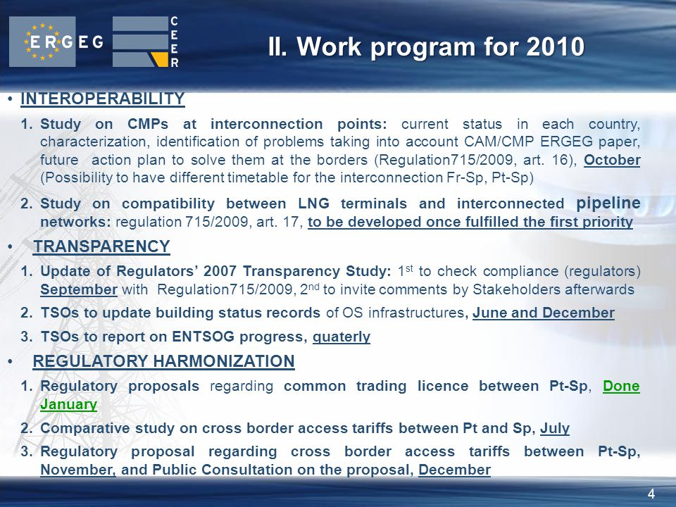 4 II. Work program for 2010 INTEROPERABILITY 1.Study on CMPs at interconnection points: current status in each country, characterization, identificati