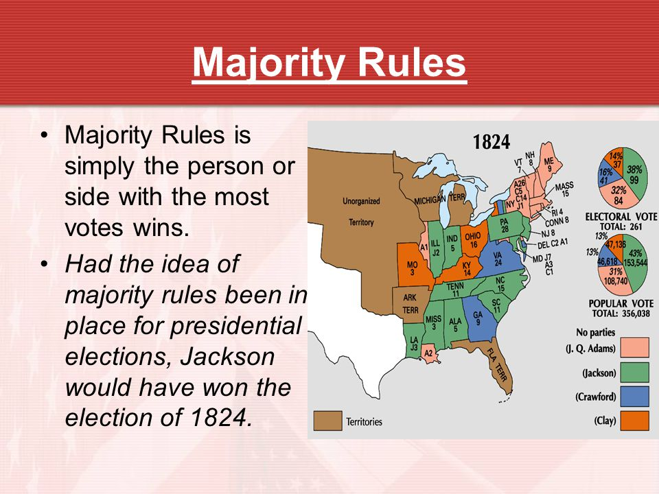 Majority Rules Majority Rules is simply the person or side with the most votes wins. Had the idea of majority rules been in place for presidential ele
