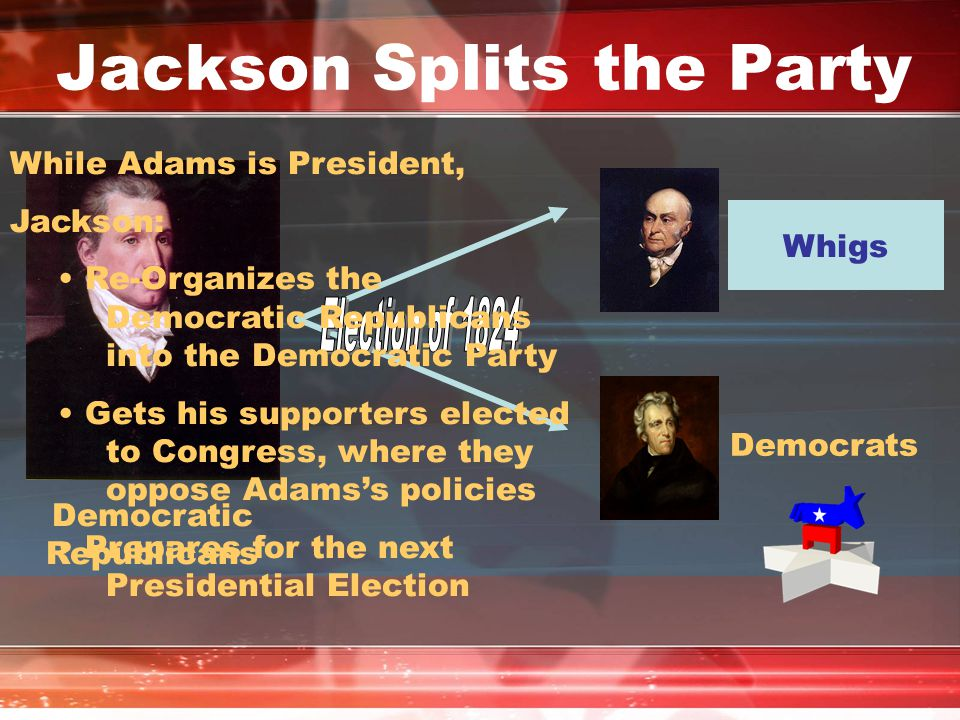 Jackson Splits the Party National Republicans Democrats Democratic Republicans While Adams is President, Jackson: Re-Organizes the Democratic Republic