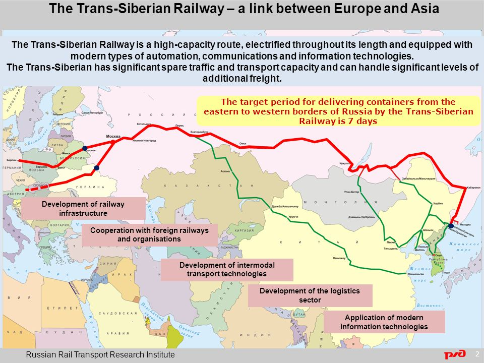Strategic parameters of the Trans-Siberian in 7 days product Russian Rail Transport Research Institute 3 Speed of delivery and stability of transit time A competitive tariff based on the price – delivery time criterion Stability of tariff policy Timely provision of information about changes to tariffs Regularity of service Adherence to fixed traffic schedule 9,806 km Nakhodka – Krasnoye 7 days 1,400 km/day Possibility of running up to 15 pairs of trains per day 60 days before they are brought into effect Target tariff Deep-sea + $1,000 For 2 or 3 years as a minimum By time spent en route By arrival at final destination