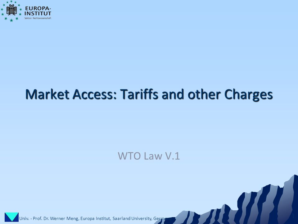 Univ. - Prof. Dr. Werner Meng, Europa Institut, Saarland University, Germany 1 Market Access: Tariffs and other Charges WTO Law V.1