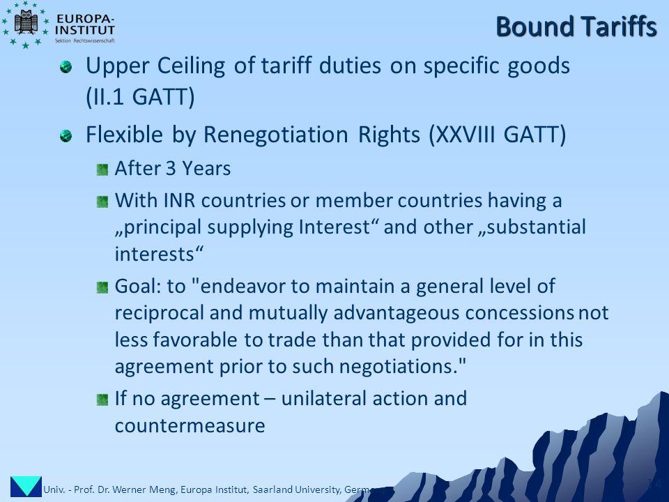 Univ. - Prof. Dr. Werner Meng, Europa Institut, Saarland University, Germany 14 Bound Tariffs Upper Ceiling of tariff duties on specific goods (II.1 G