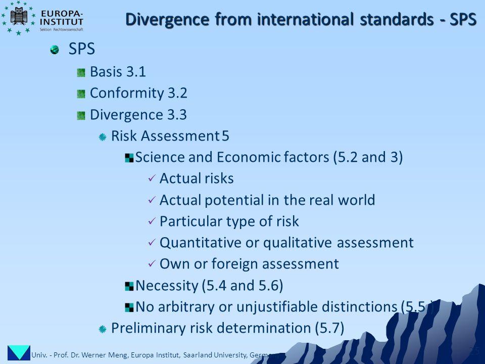 Univ. - Prof. Dr. Werner Meng, Europa Institut, Saarland University, Germany 25 Divergence from international standards - SPS SPS Basis 3.1 Conformity