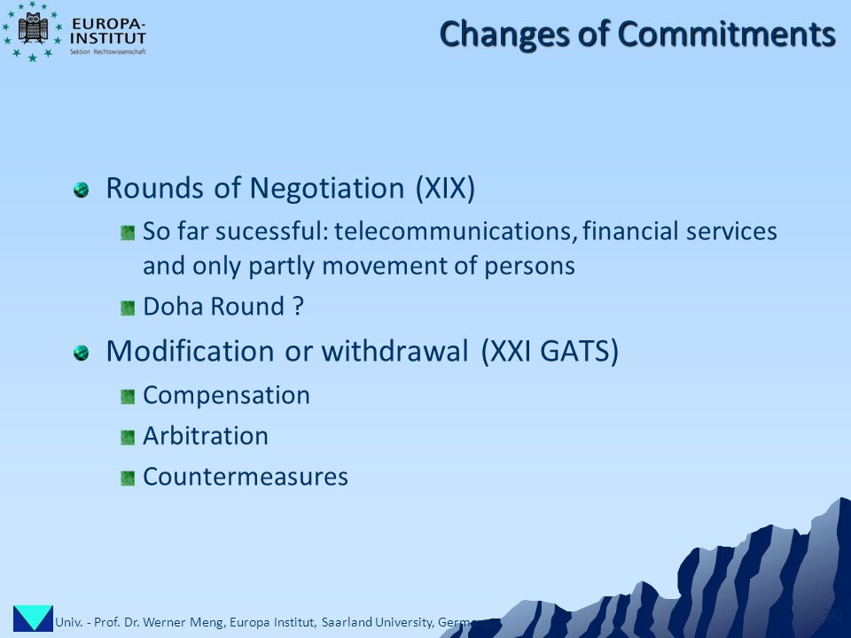 Univ. - Prof. Dr. Werner Meng, Europa Institut, Saarland University, Germany 30 Changes of Commitments Rounds of Negotiation (XIX) So far sucessful: t