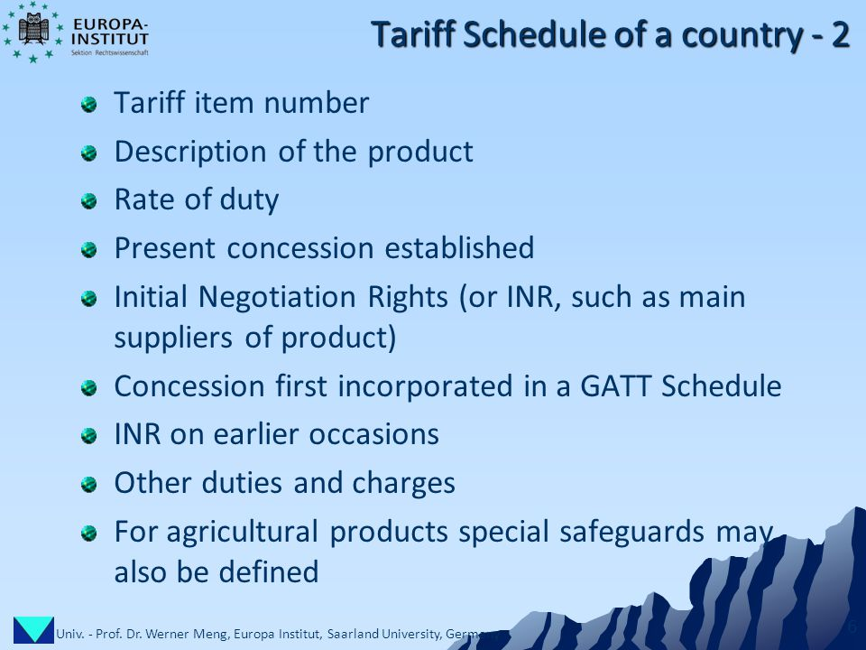 Univ. - Prof. Dr. Werner Meng, Europa Institut, Saarland University, Germany 6 Tariff Schedule of a country - 2 Tariff item number Description of the