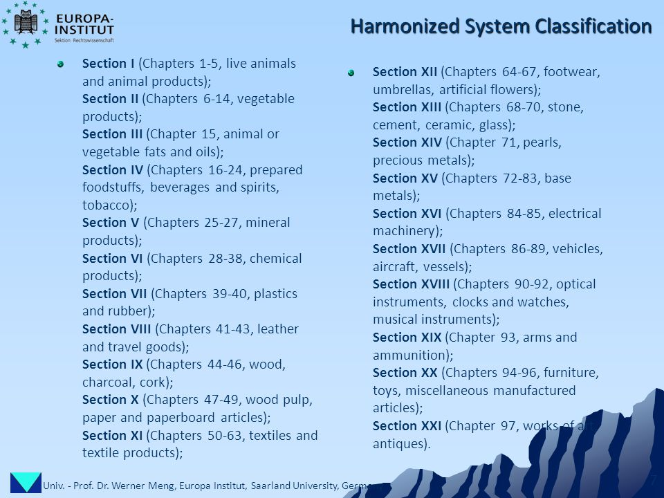 Univ. - Prof. Dr. Werner Meng, Europa Institut, Saarland University, Germany 7 Harmonized System Classification Section I (Chapters 1-5, live animals