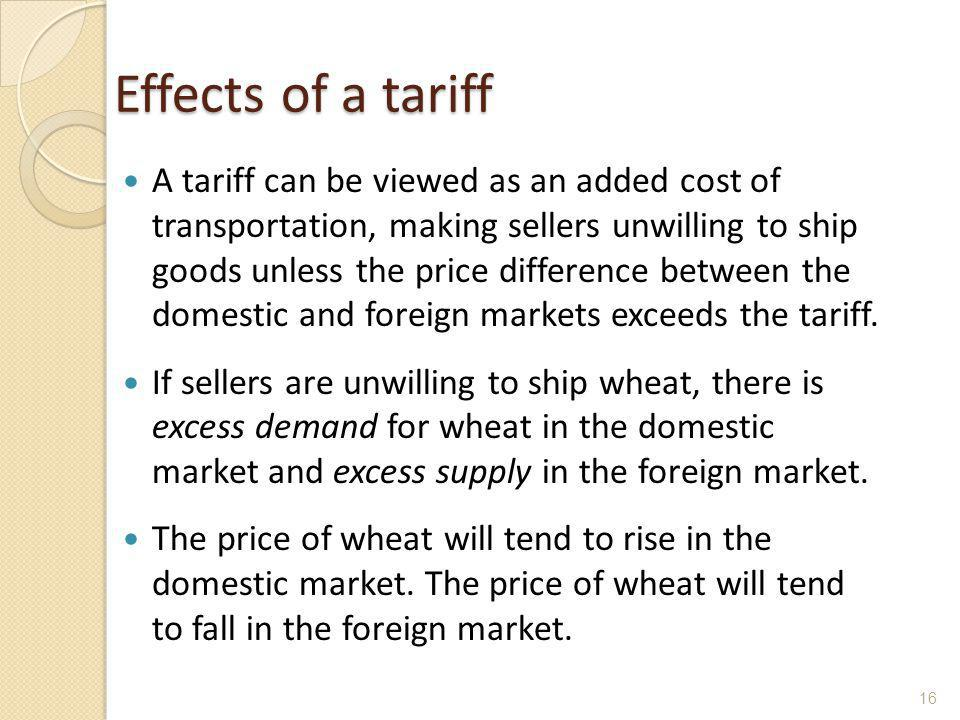 Effects of a tariff A tariff can be viewed as an added cost of transportation, making sellers unwilling to ship goods unless the price difference betw