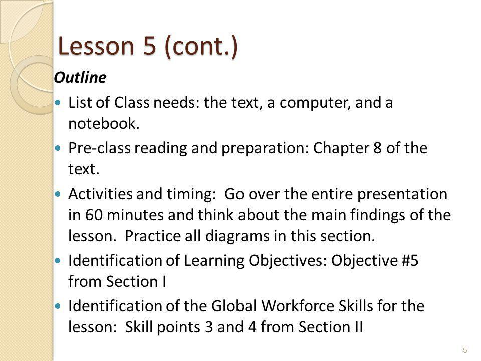 Lesson 5 (cont.) Outline List of Class needs: the text, a computer, and a notebook.