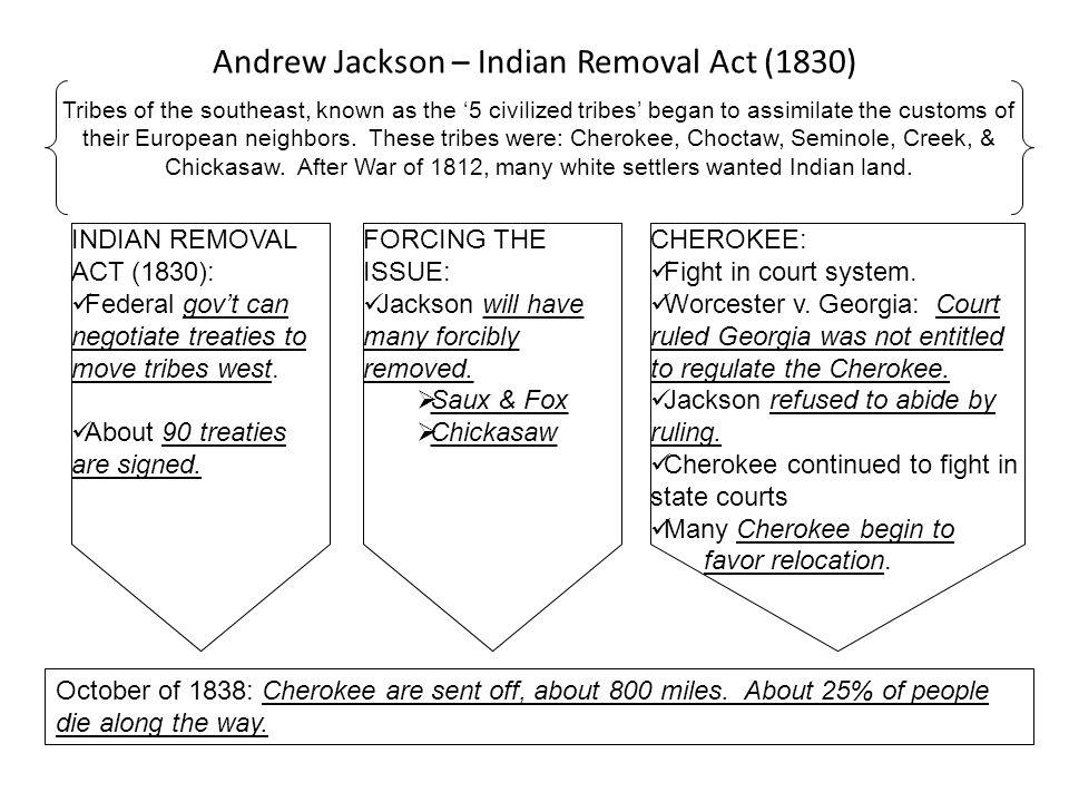 Andrew Jackson – Indian Removal Act (1830) Tribes of the southeast, known as the 5 civilized tribes began to assimilate the customs of their European
