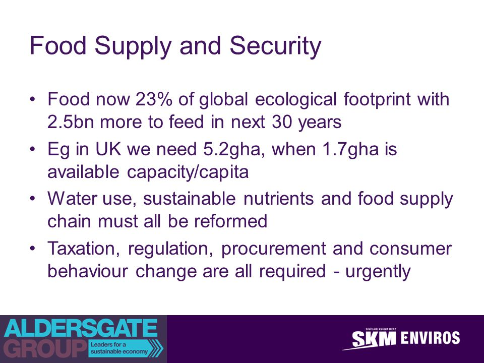 achieve outstanding client success Food Supply and Security Food now 23% of global ecological footprint with 2.5bn more to feed in next 30 years Eg in