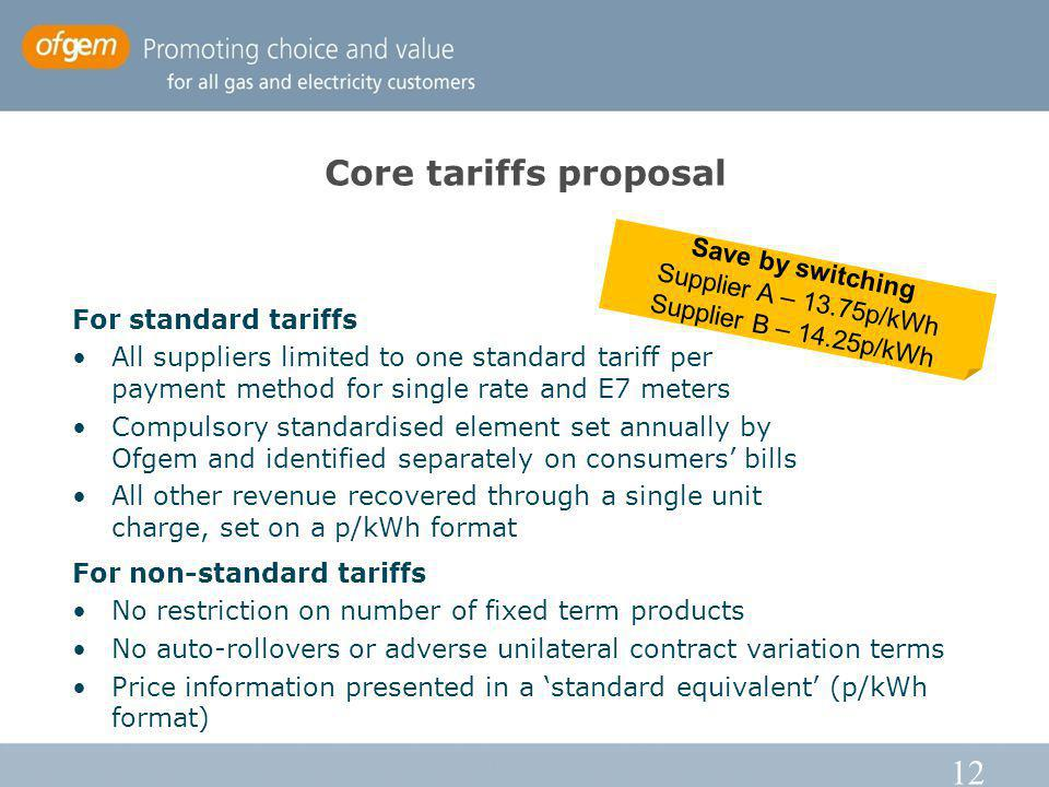 12 Core tariffs proposal For standard tariffs All suppliers limited to one standard tariff per payment method for single rate and E7 meters Compulsory standardised element set annually by Ofgem and identified separately on consumers bills All other revenue recovered through a single unit charge, set on a p/kWh format Save by switching Supplier A – 13.75p/kWh Supplier B – 14.25p/kWh For non-standard tariffs No restriction on number of fixed term products No auto-rollovers or adverse unilateral contract variation terms Price information presented in a standard equivalent (p/kWh format)