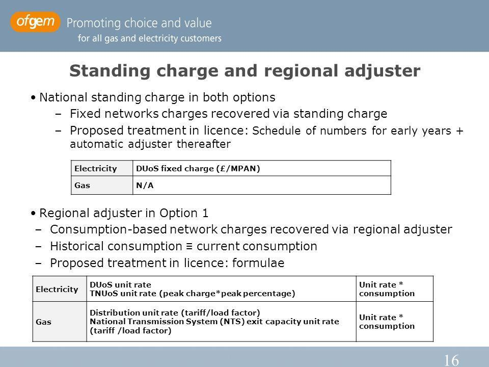 16 Standing charge and regional adjuster National standing charge in both options –Fixed networks charges recovered via standing charge –Proposed treatment in licence: Schedule of numbers for early years + automatic adjuster thereafter Regional adjuster in Option 1 –Consumption-based network charges recovered via regional adjuster –Historical consumption current consumption –Proposed treatment in licence: formulae Electricity DUoS unit rate TNUoS unit rate (peak charge*peak percentage) Unit rate * consumption Gas Distribution unit rate (tariff/load factor) National Transmission System (NTS) exit capacity unit rate (tariff /load factor) Unit rate * consumption ElectricityDUoS fixed charge (£/MPAN) GasN/A