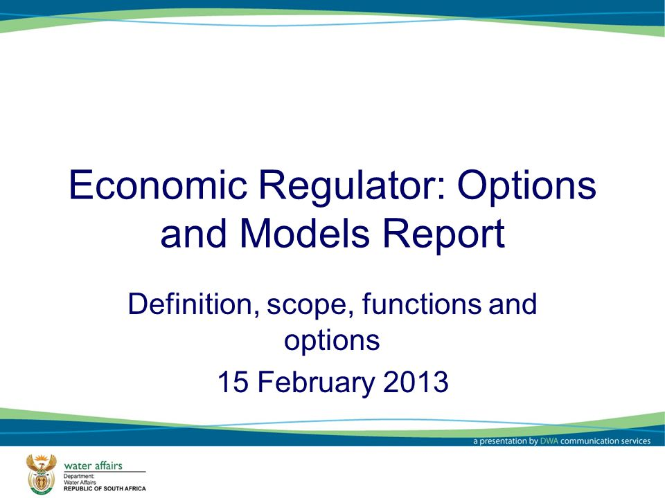 Economic Regulator: Options and Models Report Definition, scope, functions and options 15 February 2013