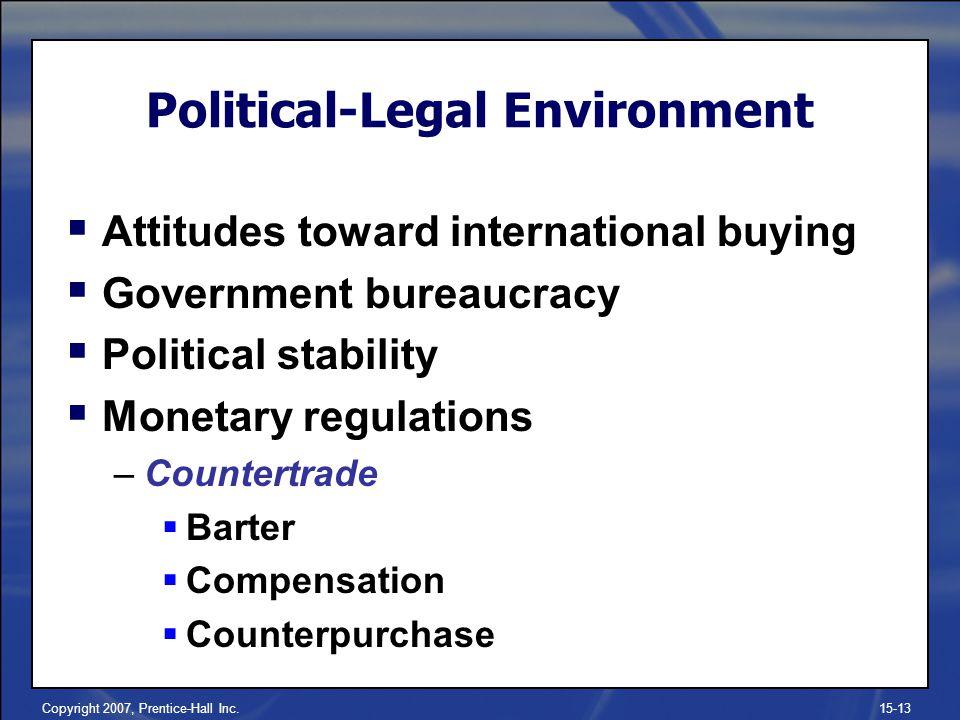 Copyright 2007, Prentice-Hall Inc.15-13 Attitudes toward international buying Government bureaucracy Political stability Monetary regulations –Counter