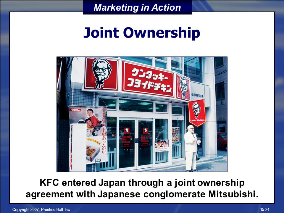 Copyright 2007, Prentice-Hall Inc.15-24 Joint Ownership KFC entered Japan through a joint ownership agreement with Japanese conglomerate Mitsubishi. M