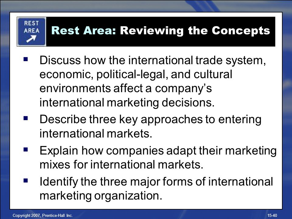 Copyright 2007, Prentice-Hall Inc.15-40 Discuss how the international trade system, economic, political-legal, and cultural environments affect a comp