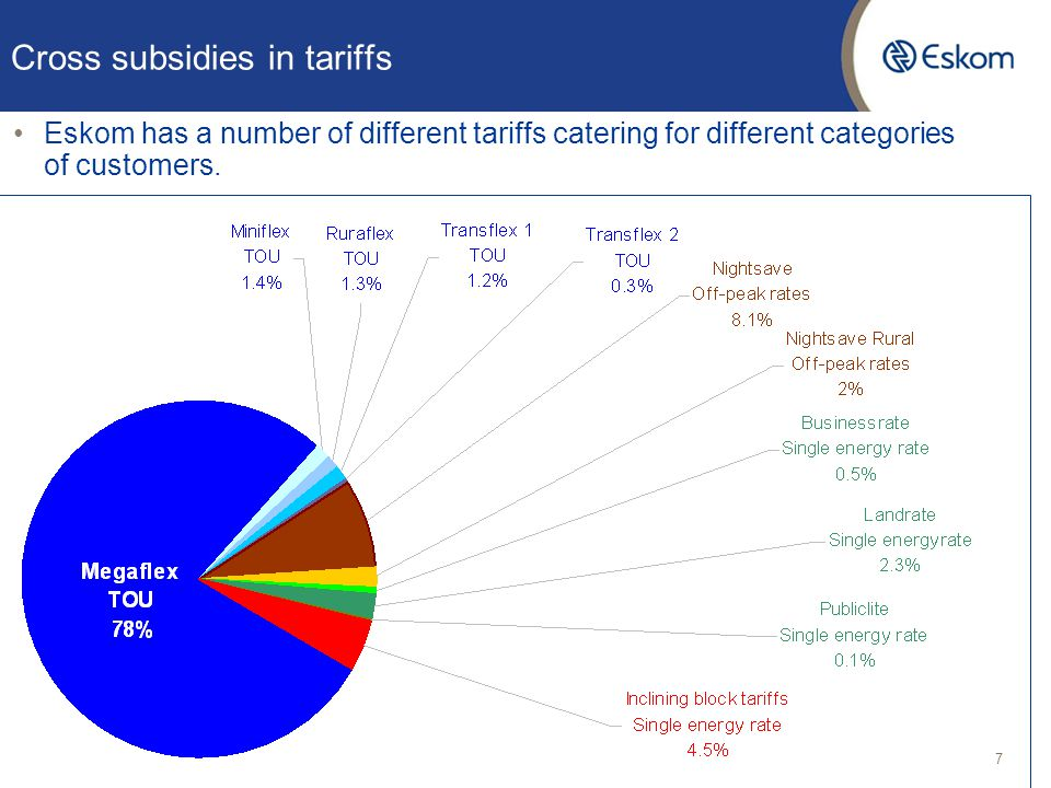 Cross subsidies in tariffs Eskom has a number of different tariffs catering for different categories of customers. 7