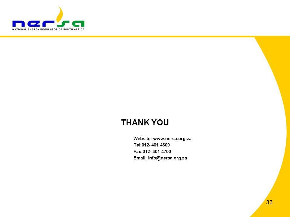 33 THANK YOU Website: www.nersa.org.za Tel:012- 401 4600 Fax:012- 401 4700 Email: info@nersa.org.za