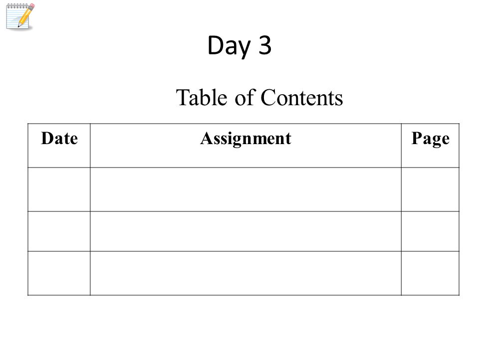 Day 3 DateAssignmentPage Table of Contents