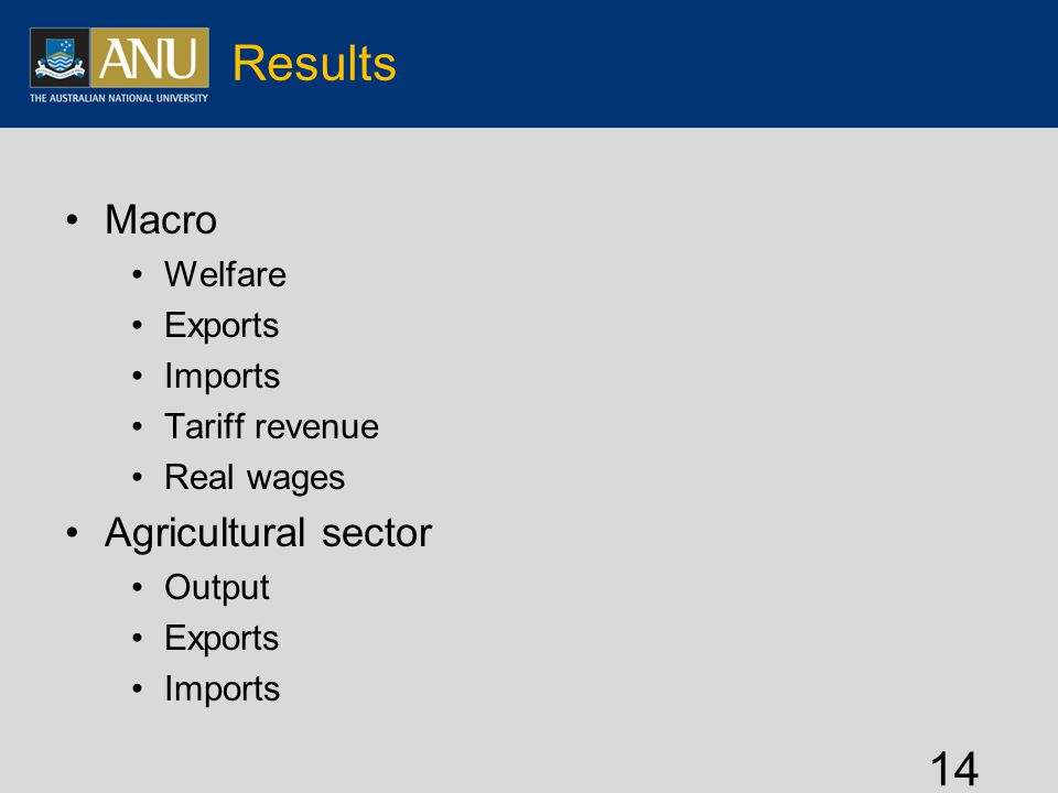 Results Macro Welfare Exports Imports Tariff revenue Real wages Agricultural sector Output Exports Imports 14